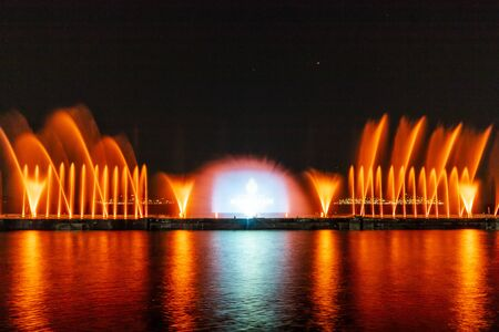 Laser show and water show on the beach of maltepe, Istanbul, Turkey