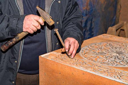 Making traditional Armenian tombstones known as Khachkars, Armenia