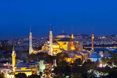 Night view over historical Hagia Sophia in Istanbul, Turkey