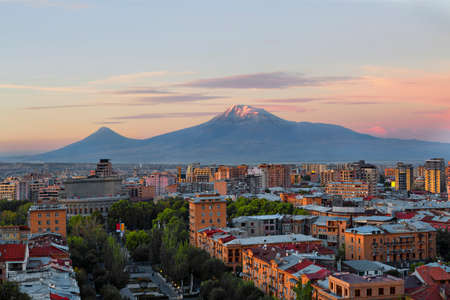 Yerevan at the sunrise with the two peaks of the Mt Ararat, Armenia