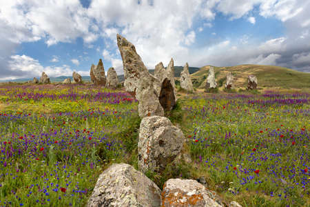 Antique rocks in Zorats Karer or Karahunj known as Armenian stone henge 写真素材