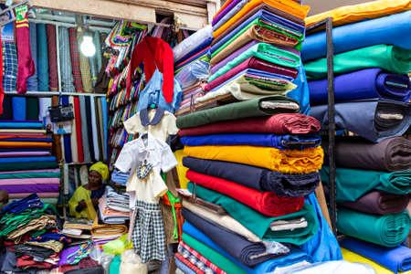 Colorful fabric shop in Kampala, Uganda Editorial
