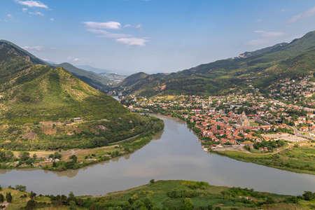 Rivers Kura and Aragvi getting together, at Jvari Monastery, in Mtskheta, Georgia