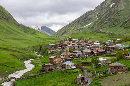 Mountain village of Ushguli in the Caucasus Mountains, Georgia