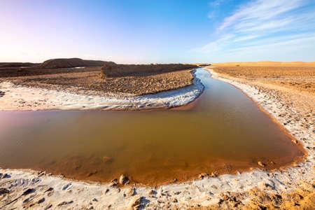 Salt river in Lut Desert in Iran