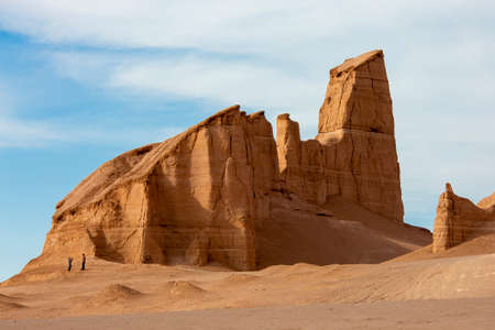 Lut desert in Iran with rock formations known as Kaluts