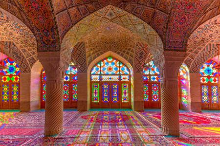Nasir-Ol-Molk Mosque known also as Pink Mosque, in Shiraz, Iran Editorial