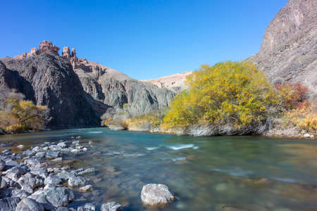 Charyn river in the Charyn Canyon in Kazakhstan