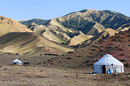 Nomadic tents known as yurt, in the Assy Plateau, Kazakhstan.