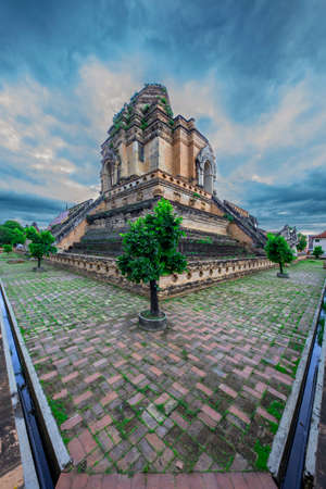 Historical Buddhist temple known as Wat Chedi Luang, in Chiang Mai, Thailand