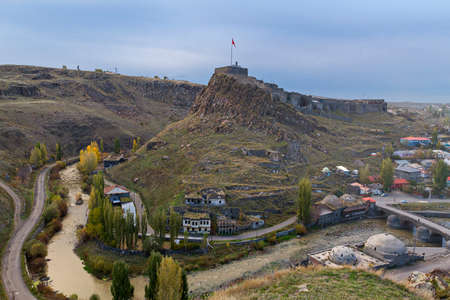 View over the castle of Kars, in Turkey. Kars is a province in the Northeastern Turkey, close to the Armenian border.