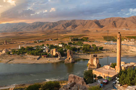 Ancient town of Hasankeyf in Turkey. The town goes under the water of the reservoir of a dam under construction on the River Tigris.