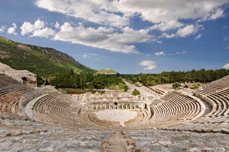 Roman amphitheater in Ephesus in Selcuk, Izmir, Turkey Banque d'images