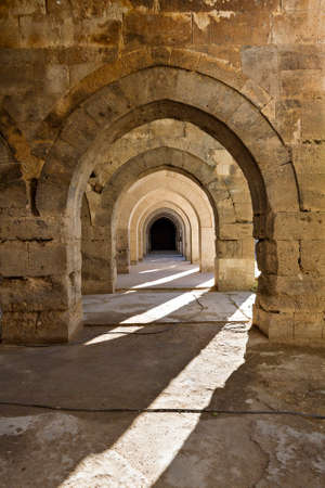 Arches in the gallery section of the Roman amphitheater at Aspendos, Turkey. 写真素材