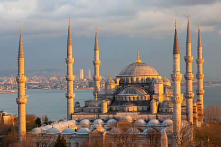 Blue Mosque at the sunset in Istanbul, Turkey
