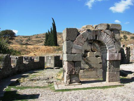 Pergamon,Asclepion-round building Stock Photo