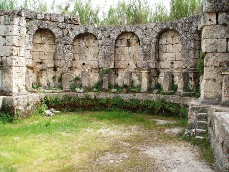 Antalya-Perge,pool of the ancient Roman bath. Stock Photo