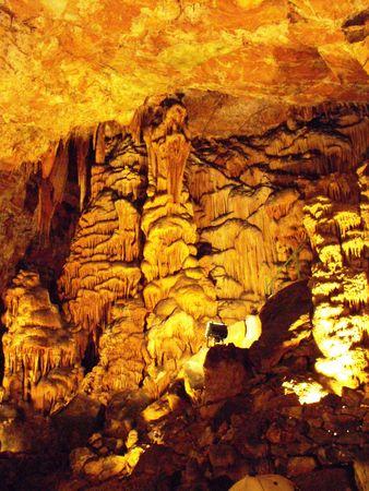 stalactites:  Stalactites, stalagmite and stalactones in the cave  Saeva hole