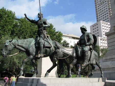 Madrid-Monument to Don Quixote and Sancho Pansa.