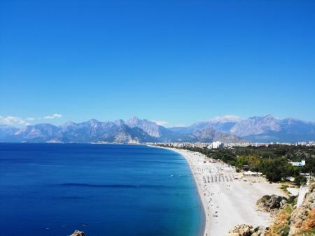 The big beach in Antaliya.In the bottom Taurus mountains.