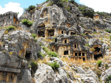 Rock tombs of the ancient city of Myra 2th century BC. Stock Photo