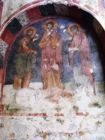 Part of the preserved frescoes in Saint Nicholas church in Myra.