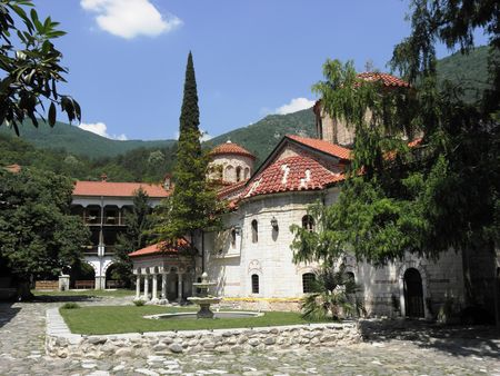 General view of the Bachkovo monastery and church. Stock Photo