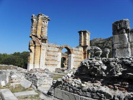 The ruins of the Byzantine basilica at Philippi. Stock Photo