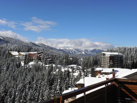 View from the ski resort of Pamporovo in the Rhodope Mountains in winter Stock Photo