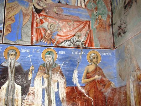 murals: Murals on the walls of the monastery church of Saint Peter and Paul near Sofia.