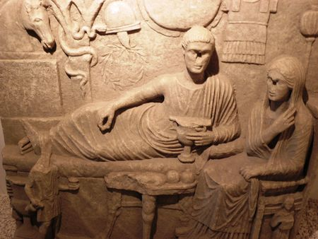 domestic scene: Domestic scene from Roman period.Arheological museum in Edirne.