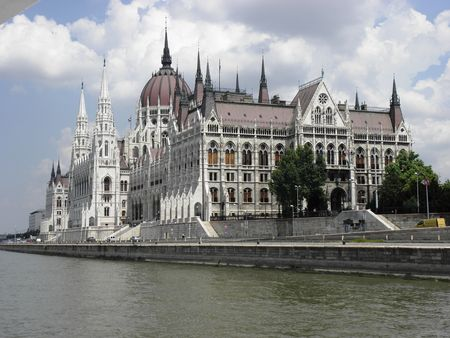Hungarian Parliament building built on the banks of the Danube. Stock Photo