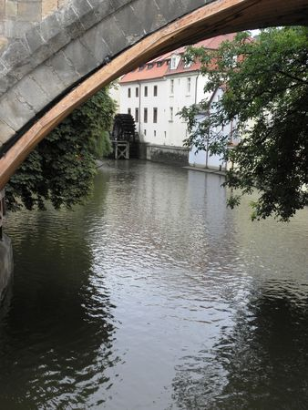 deviation: A little deviation from the Vltava river with a romantic view of the old mill.