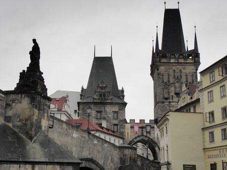 karl: Part of the Karl Bridge and the two towers of old Prague. Stock Photo