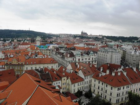 researches: Researches high on the old part of Prague. Stock Photo