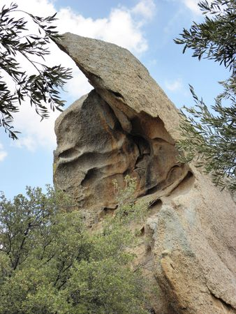 sculpted: Rock sculpted by nature into beautiful shape in the mountains near ancient  Heracleia. Stock Photo