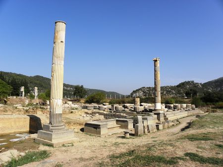 The remains of the Apollo temple in ancient city Klaros from Hellenistic times