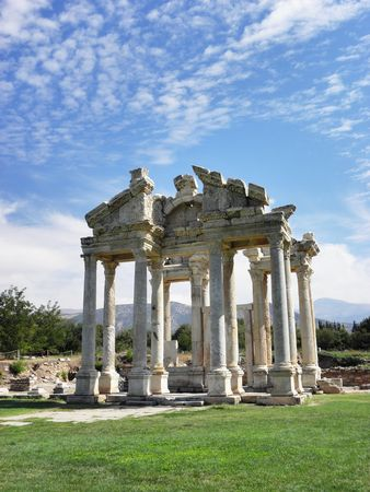 Impressive portal with beautifully crafted columns and friezes of the temple of Aphrodite at Aphrodisias ancient city in Aegean Turkey.