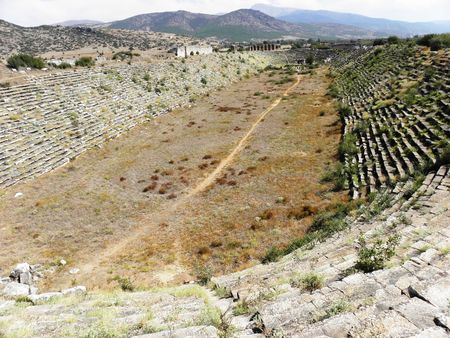View of the best preserved stadium in the ancient world in the ancient city of Aphrodisias, which had seats for 30,000 people. Stock Photo