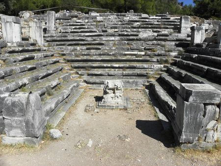 Well preserved in the ancient Senate house,Bouleuterion in ancient city Priene.