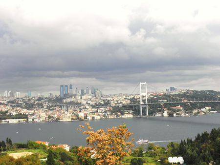 View from the Bosphorus, the European part of Istanbul and the second bridge on the Bosphorus. Stock Photo