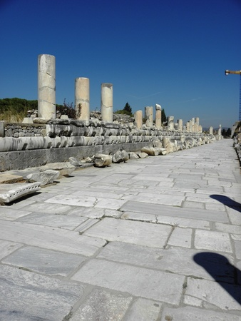 maintained: Wide well maintained street with a colonnade at the bottom of ancient Ephesus Stock Photo