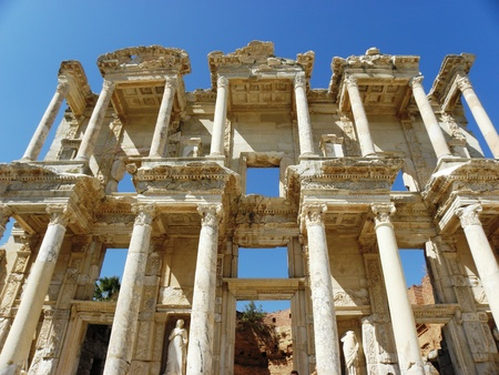 Parts and fragments of the library of Celsius in Ephesus. Stock Photo