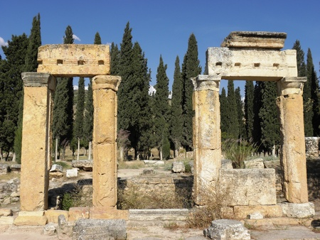 The beautiful Landscape of Roman city Hierapolis build in the first century ,which is located to the natural phenomenon Pamukkale. Stock Photo - 8463157