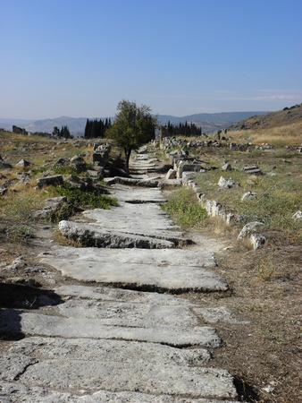 to exist: Ancient roads exist today in the Roman city of Hierapolis in the first century after Christ. Stock Photo
