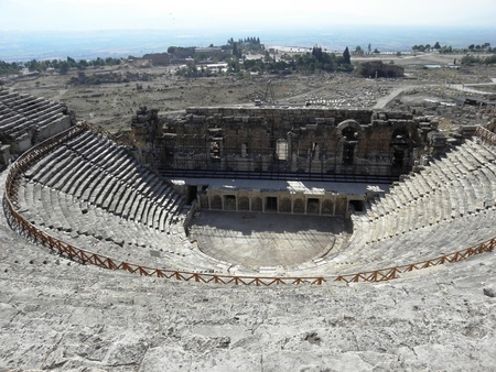 Large and well-preserved Roman amphitheater in the ancient city of Hierapolis. Stock Photo - 8463189