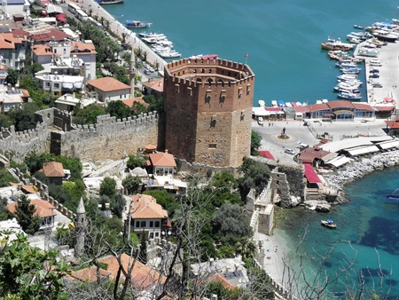13th century:  Red Tower in Alanya and part of the ancient port.