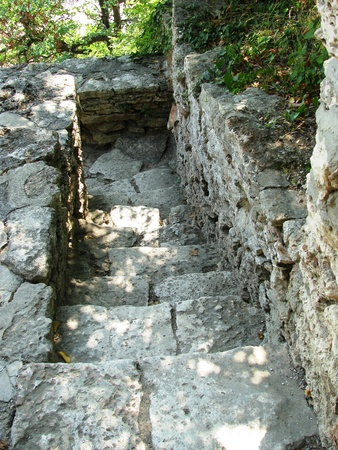 balchik: Old narrow stone staircase in the gardens of the residence in Balchik.