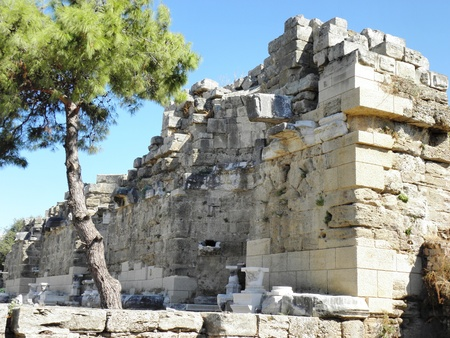 2nd century: Nymphaeum in ancient Side built during the Roman Empire in the 2nd century.