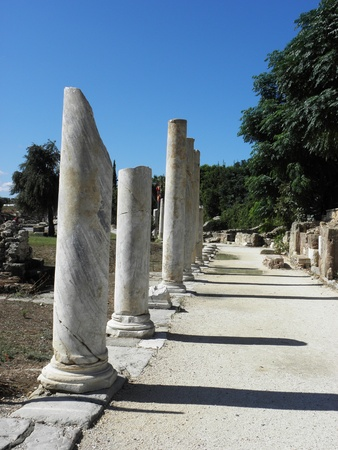 colonade: Colonnade of the main street in the ancient town of Side near Antalya.